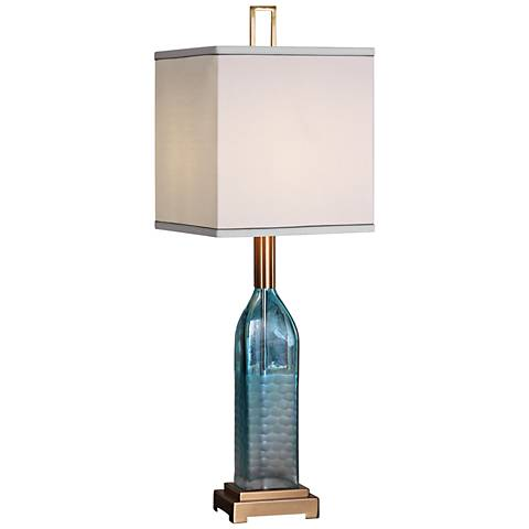 Uttermost Annabella Textured Teal Green Bottle Table Lamp