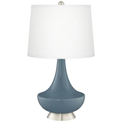 Smoky Blue Gillan Glass Table Lamp