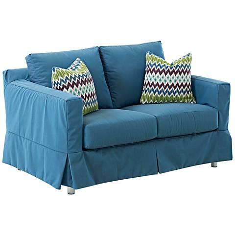 Klaussner Aspen Blue Fabric Outdoor Loveseat
