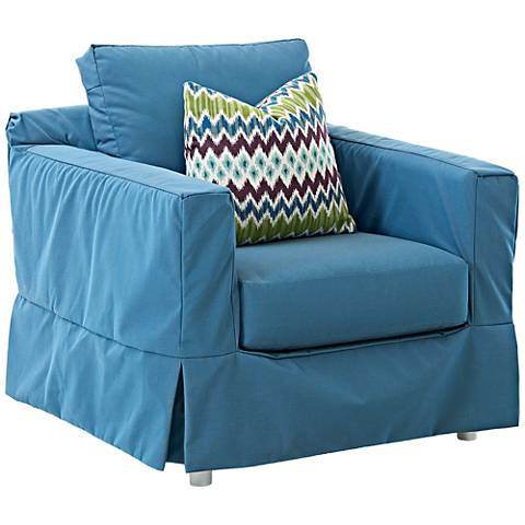 Klaussner Aspen Blue Fabric Outdoor Accent Chair