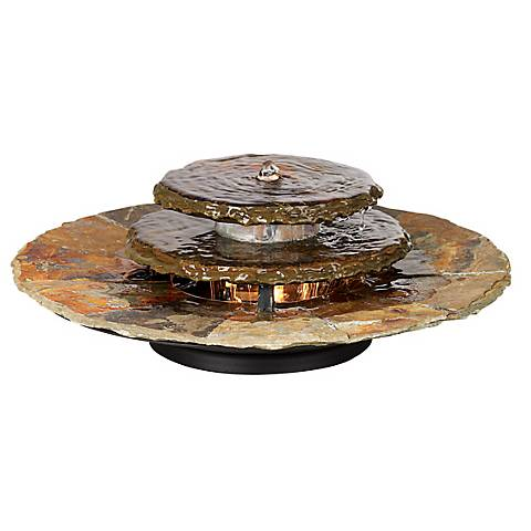 "Slate Rounds 17 1/2"" Wide Lighted Table Fountain"