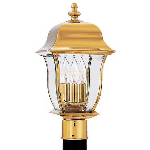 "Gladiator 20 1/2""H Polished Brass Outdoor Post Mount Lantern"