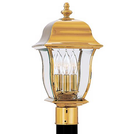 "Gladiator 20 1/2""H Polished Brass Outdoor Post Mount Lantern"
