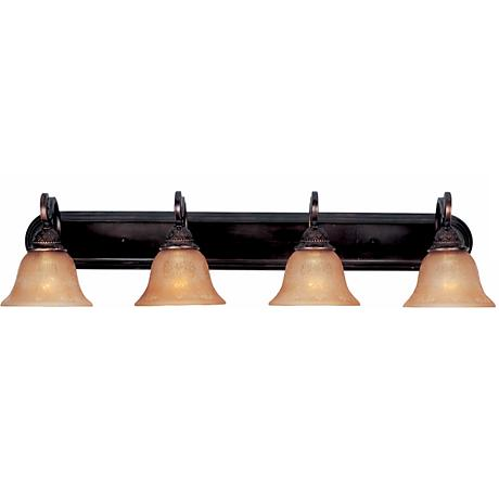 Symphony oil rubbed bronze four light bathroom fixture for Bathroom light fixtures brass finish
