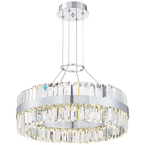 """Possini Euro Viv 20"""" Wide Chrome Crystal LED Pendant Light"""