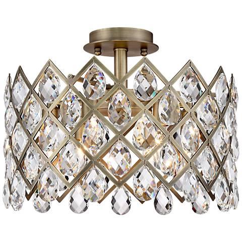 """Sumner 17"""" Wide Antique Brass Ceiling Light"""
