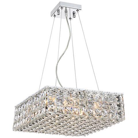 """Possini Euro Vishalli 17"""" Wide Chrome Crystal Pendant Light"""