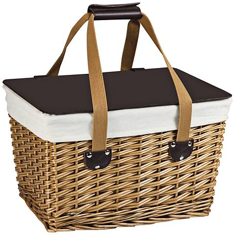 Canasta Natural Willow Flat-Lidded Picnic Basket