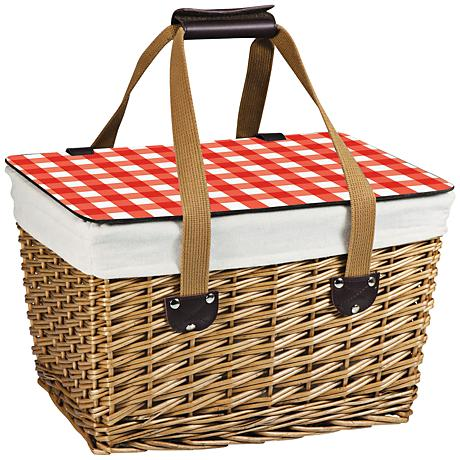 Canasta Red Check Willow Flat-Lidded Picnic Basket