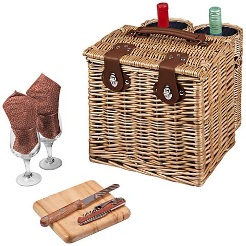 Vino Adeline Willow Wine Picnic Basket