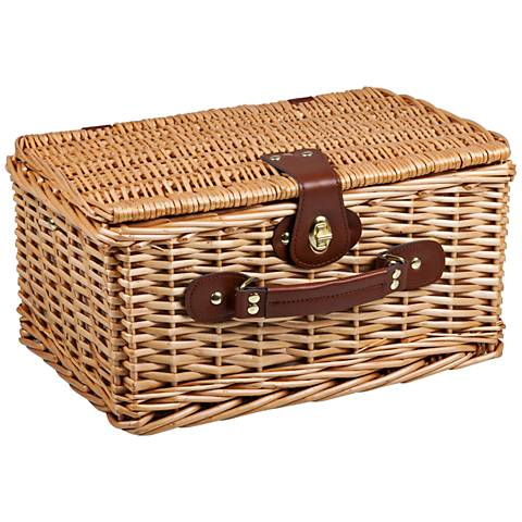 Catalina Red and White Plaid Willow Picnic Basket