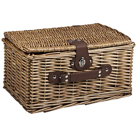 Catalina Navy Canvas Willow Picnic Basket