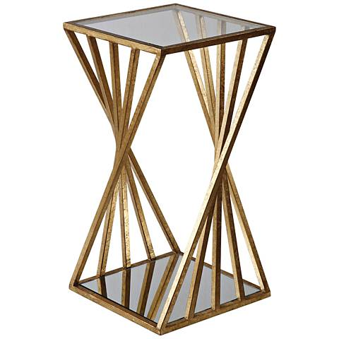 Uttermost Janina Clear Glass Top Gold Leaf Accent Table