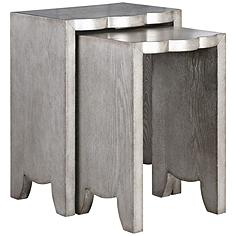Uttermost Imala Burnished Silver 2-Piece Nesting Table Set