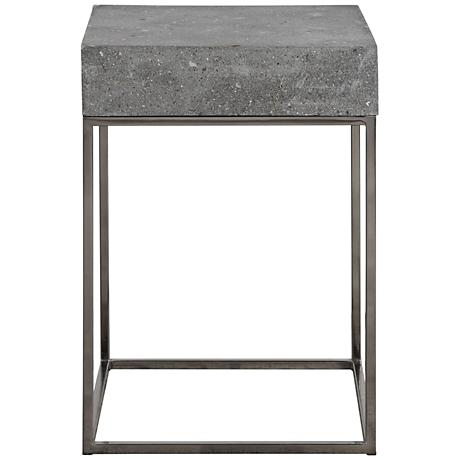 Uttermost Jude Concrete Top Stainless Steel Accent Table