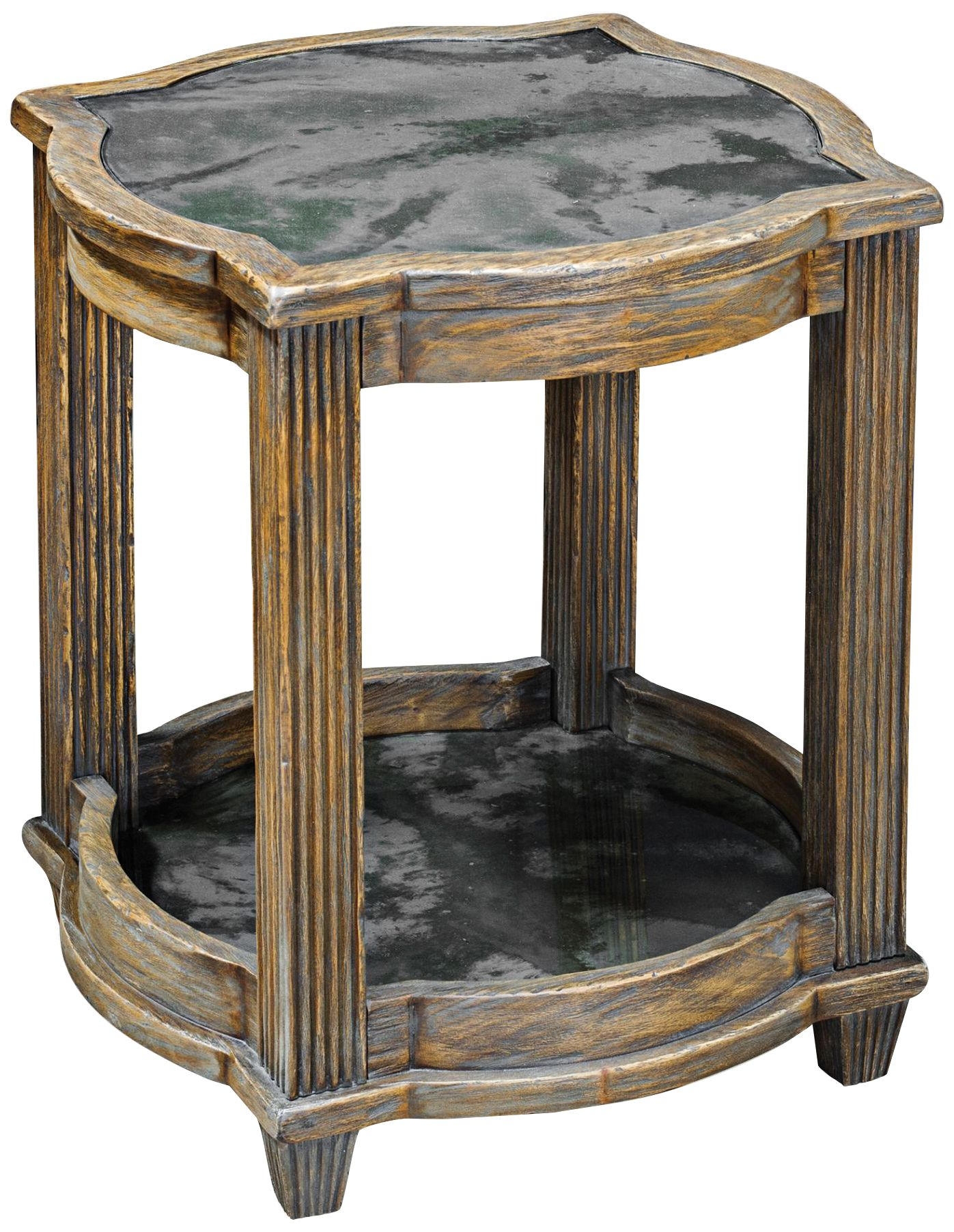 uttermost olani antique mirror weathered oak accent table