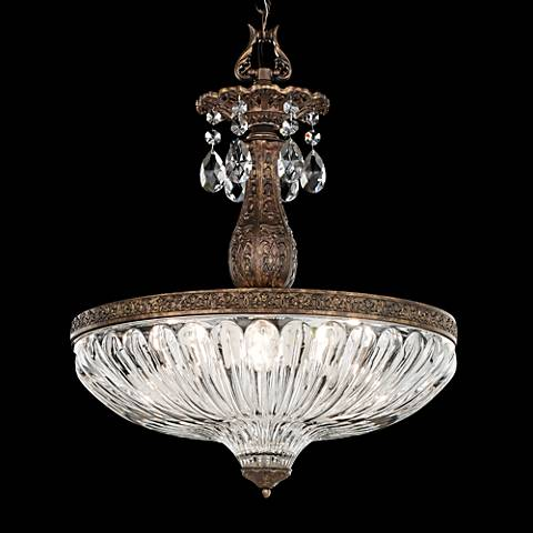 "Schonbek Milano 16""W Heirloom Bronze Crystal Pendant Light"
