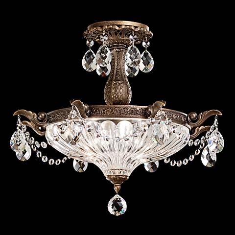 "Schonbek Milano 18 1/2""W Etruscan Gold Crystal Ceiling Light"