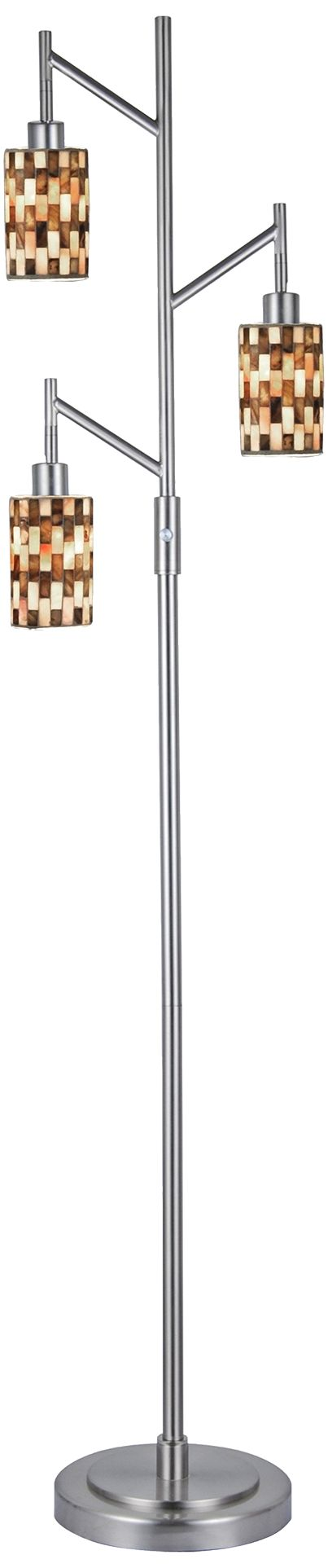 dale tiffany kalmia brushed nickel 3light mosaic floor lamp