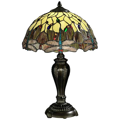 Dale Tiffany Corrall Dragonfly Cream Art Glass Table Lamp