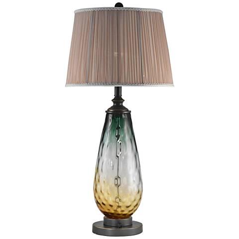 Dale Tiffany Boylen Smoky Ombre Green Glass LED Table Lamp