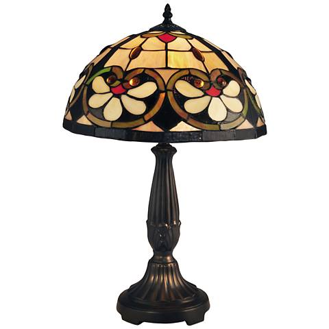 Dale Tiffany McCartney White Floral Art Glass Table Lamp
