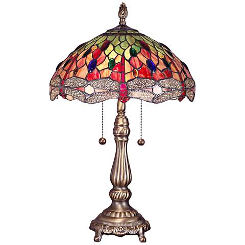 Dale Tiffany Yadira Dragonfly Art Glass 2-Light Table Lamp