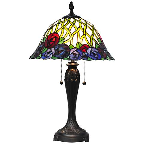 Dale Tiffany Eva Multicolor Rose Art Glass Table Lamp