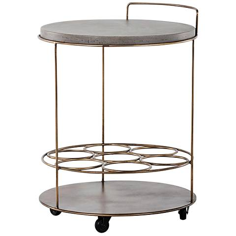 Rowe Antique Brass and Concrete Indoor-Outdoor Bar Cart