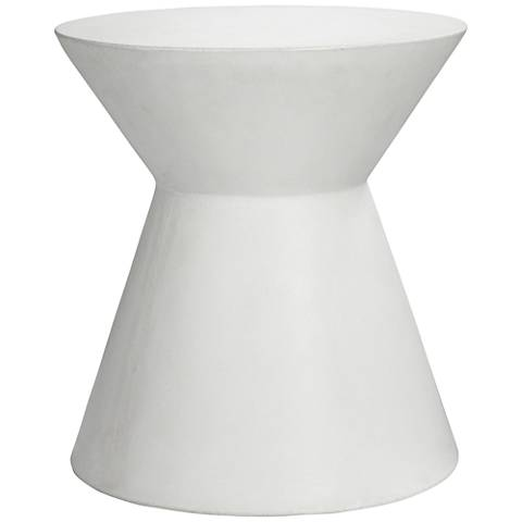 Astley Round White Concrete Indoor-Outdoor End Table