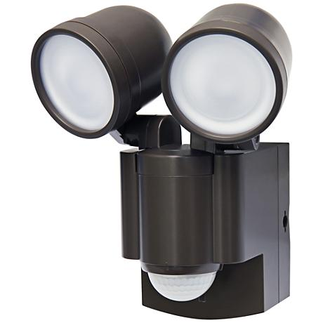 """Flash 7""""H Bronze 2-Lamp Battery-Powered LED Security Light"""