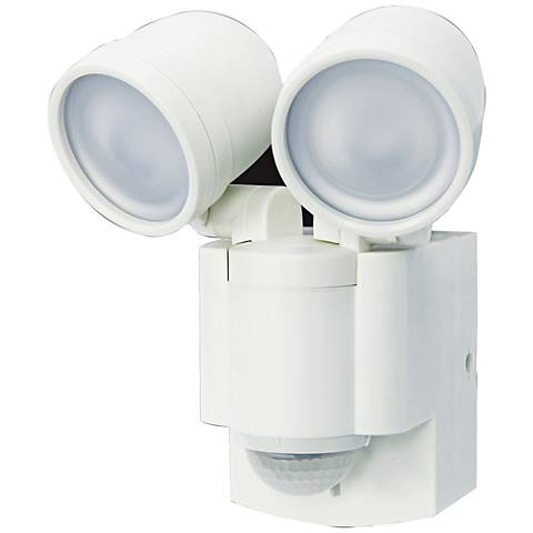 "Flash 7""H White 2-Lamp Battery-Powered LED Security Light"