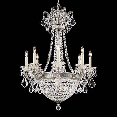 """La Scala Empire 25 1/2""""W Roman Silver Crystal Chandelier"""