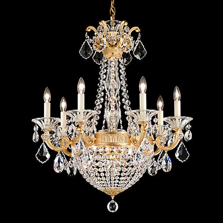 """La Scala Empire 23 1/2"""" Wide French Gold Crystal Chandelier"""