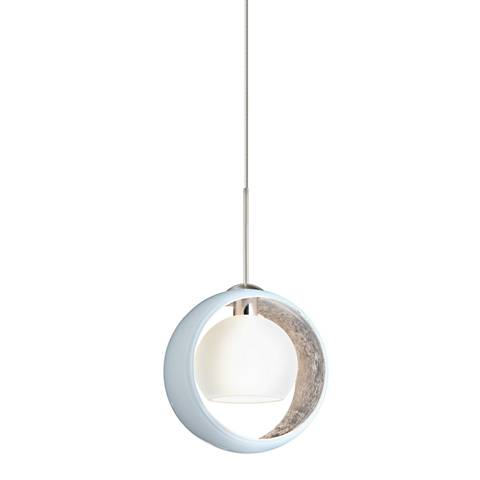 "Besa Pogo 6 1/4"" Wide Satin Nickel White Glass Mini Pendant"