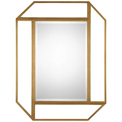 "Mendez Antiqued Gold Leaf 41 1/2"" x 53 1/2"" Wall Mirror"