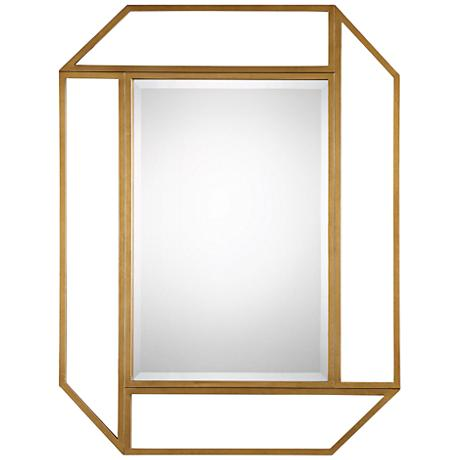 "Mendez Antiqued Gold Leaf 41 1/2"" x 53 1/2"" Wall Mirror"
