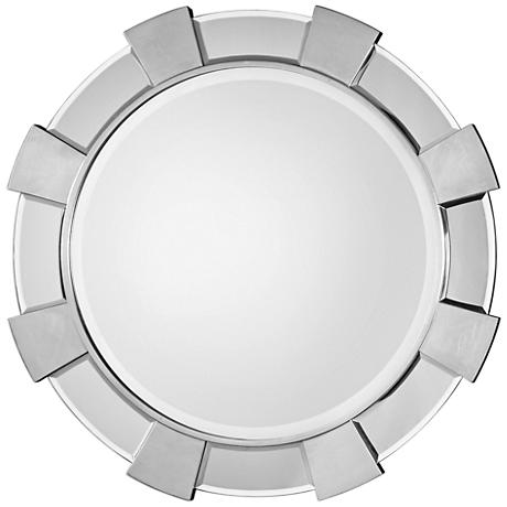 """Uttermost Danlin Antiqued Silver Leaf 41"""" Round Wall Mirror"""