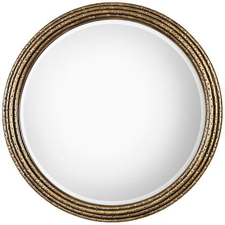 """Uttermost Spera Antiqued Gold 42 1/4"""" Round Wall Mirror"""