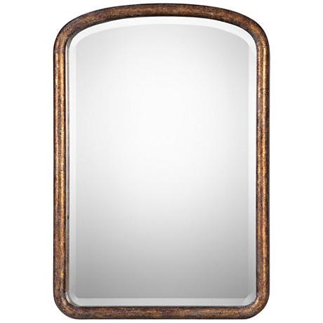 """Vena Antiqued Gold Leaf 26 1/2"""" x 38 1/4"""" Wall Mirror"""