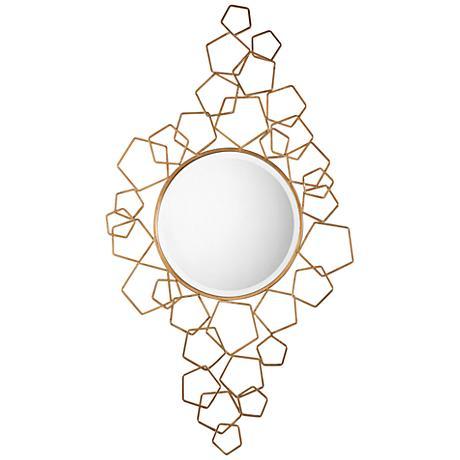 """Uttermost Soraya Antiqued Gold Leaf 30"""" x 53"""" Wall Mirror"""
