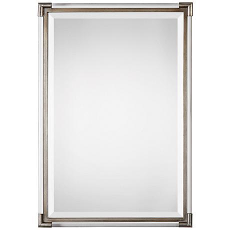"Mackai Metallic Silver Leaf 23"" x 32 3/4"" Wall Mirror"