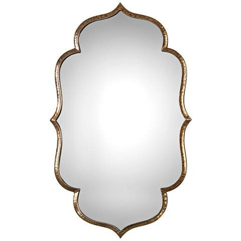 "Zina Antiqued Metallic Gold 23 3/4"" x 39 1/4"" Wall Mirror"