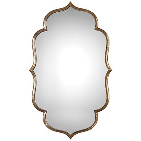 "Zina Antiqued Metallic Gold 23 3/4"" x 39 1/4"" Wall Mirror"