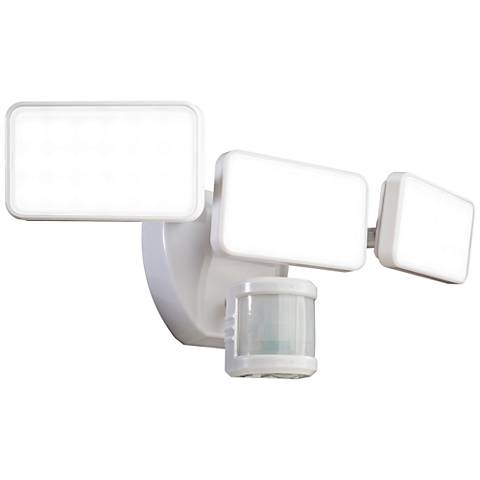 White 2500 Lumen Motion-Activated 3-Lamp LED Security Light