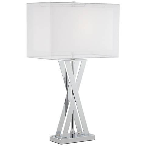 Possini Euro Proxima Double Shade Chrome Table Lamp