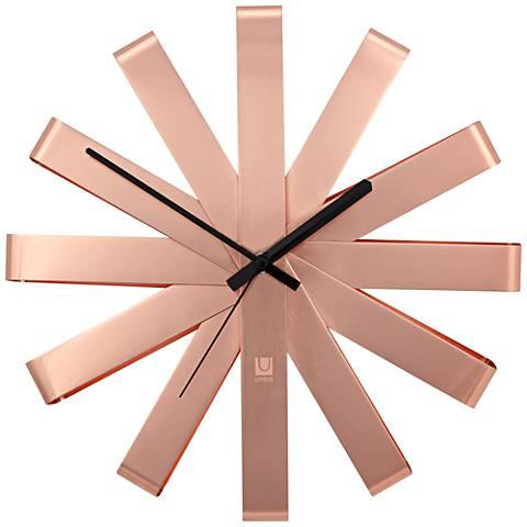 "Ribbon Copper 12"" Round Wall Clock"