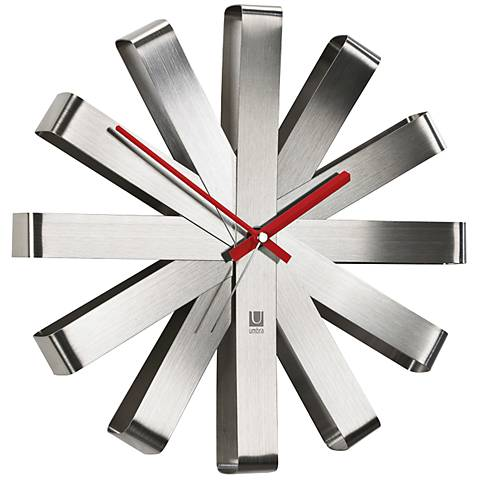 "Ribbon Brushed Steel 12"" Round Wall Clock"