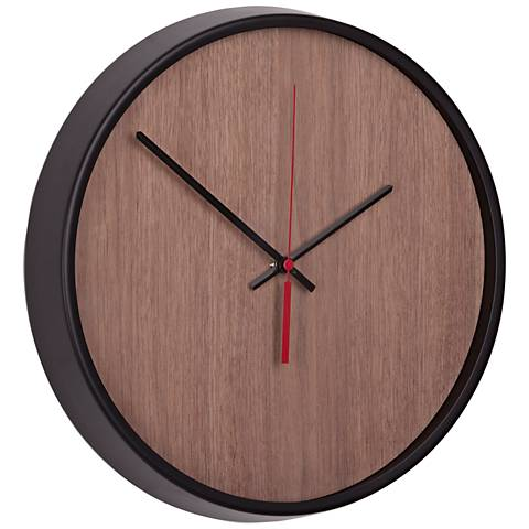 madera black and walnut 12 1 2 round wall clock 14j56