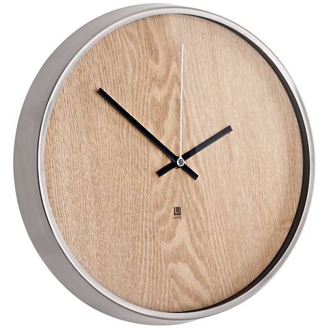 "Madera Natural and Nickel 12 1/2"" Round Wall Clock"
